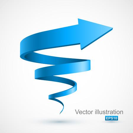 Ilustración de Blue spiral arrow 3D - Imagen libre de derechos