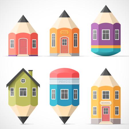 Foto de Set of colorful pencil houses - Imagen libre de derechos