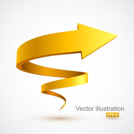 Ilustración de Yellow spiral arrow 3D - Imagen libre de derechos
