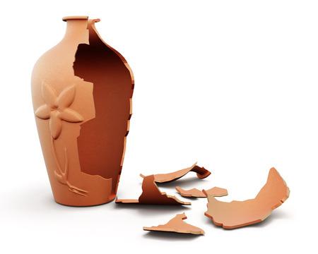 Photo pour Broken clay vase isolated on white background. 3d render image. - image libre de droit