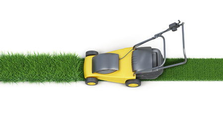 Photo for Lawn mower cutting grass isolated on white background. Top view. Electric lawn mower. 3d render image - Royalty Free Image