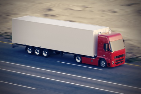 Photo pour Large delivery truck is moving fast on the road  - image libre de droit