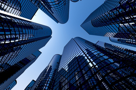 Photo for Low angle shot of modern glass city buildings with clear sky background. - Royalty Free Image