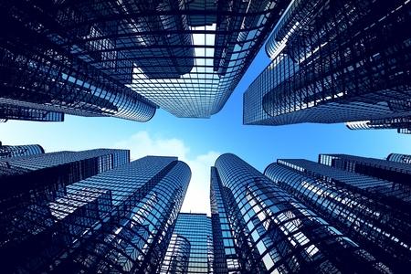 Foto de Low angle shot of modern glass city buildings during sunny day. Fisheye lens effect. - Imagen libre de derechos