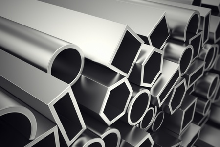 Photo for A stack of steel profiles in different shapes. They are designed to meet high demands for performance, quality and precision. They are used in construction and manufacturing.  - Royalty Free Image