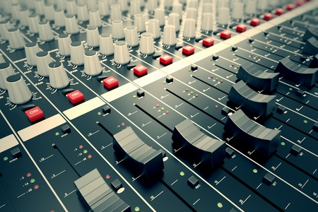 Photo for Side closeup on a sliders of a mixing console. It is used for audio signals modifications to achieve the desired output. Applied in recording studios, broadcasting, television and film post-production. - Royalty Free Image
