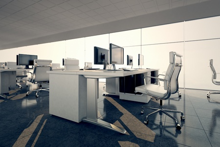 Foto de Side view of an office space  White desks arrangement on a glass courtain wall background  Illustrates arrangement and furnishing of a modern office interior, comfortable business space and professionalism  - Imagen libre de derechos