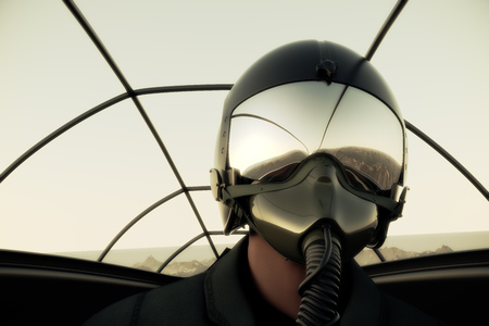 Photo pour Pilot Wearing Mask And Helmet In Cockpit Of Fighter Jet. - image libre de droit
