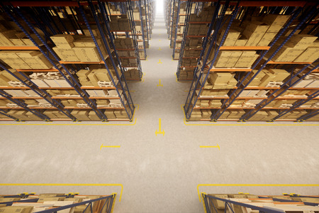 Photo for Warehouse interior with racks and crates - Royalty Free Image