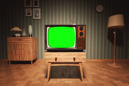 Foto de Authentic Static On Old Fashioned TV Screen At Home Green Screen - Imagen libre de derechos