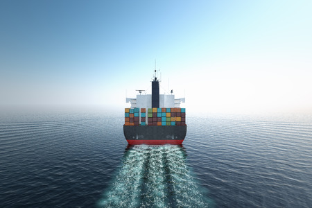 Photo for CG Aerial shot of container ship in ocean. - Royalty Free Image
