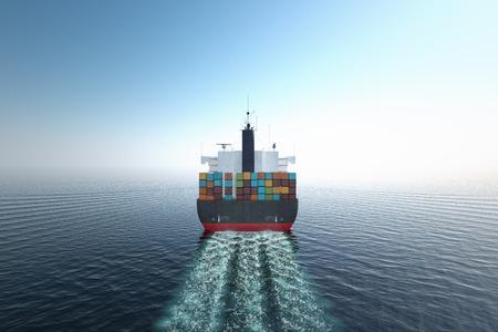 Foto de CG Aerial shot of container ship in ocean. - Imagen libre de derechos