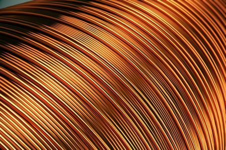 Photo pour Close up of the bare bright copper wire on the spool. - image libre de droit