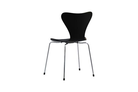 Photo pour Modern wooden chair with metal legs on white background. 3d render - image libre de droit