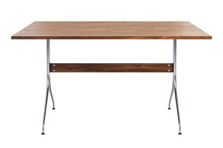 Photo pour Mid century rectangular work table. Minimalistic work table with rectangular wooden tabletop and chromium legs on white background. 3d render - image libre de droit