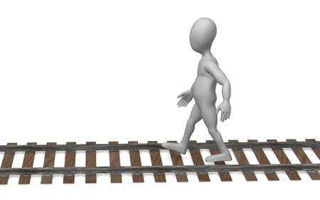 3d render of cartoon character with railway