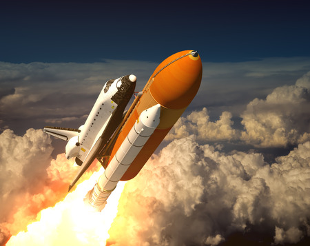 Space Shuttle In The Clouds. 3D Scene.