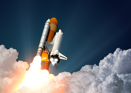 Photo pour Realistic 3d Scene Of Space Shuttle Launch - image libre de droit