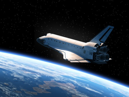 Photo pour Space Shuttle Orbiting Earth. Realistic 3D Scene. - image libre de droit