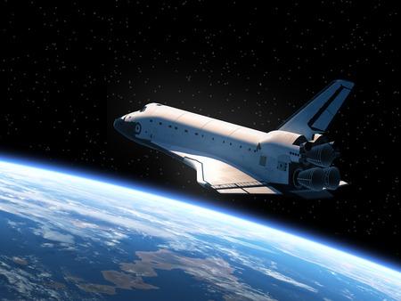 Space Shuttle Orbiting Earth. Realistic 3D Scene.