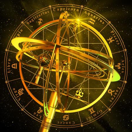 Foto de Armillary Sphere With Zodiac Symbols Over Black Background. 3D Scene. - Imagen libre de derechos