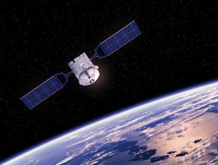 Photo pour Communication Space Satellite Orbiting Earth. 3D Scene. - image libre de droit