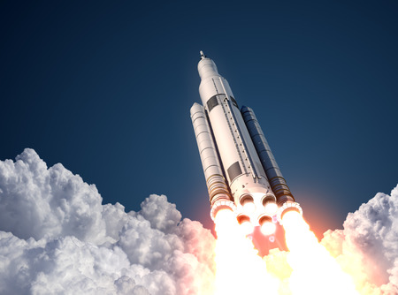 Photo pour Space Launch System Takes Off. 3D Scene. - image libre de droit