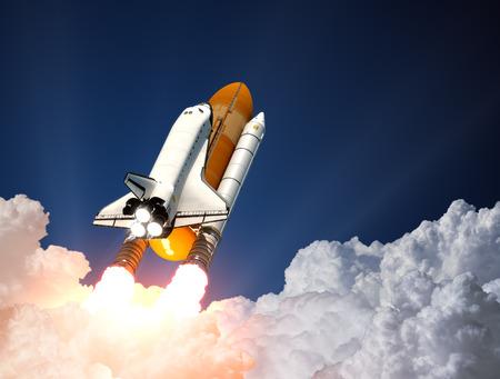 Photo pour Space Shuttle Over The Clouds. 3D Scene. - image libre de droit