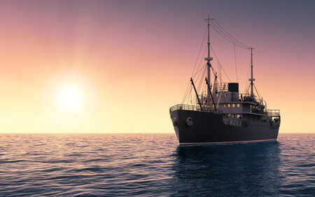 Cargo Ship Against The Evening Sky. 3D Scene.