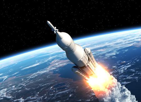 Photo pour Space Launch System Takes Off. 3D Scene. - image libre de droit
