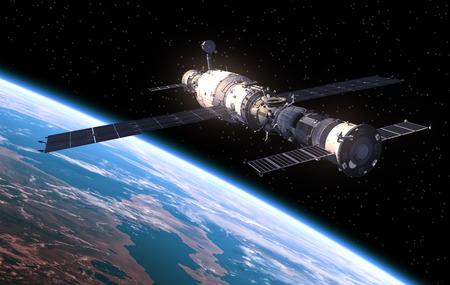 Photo pour Space Station In Space. Realistic 3D Scene. - image libre de droit