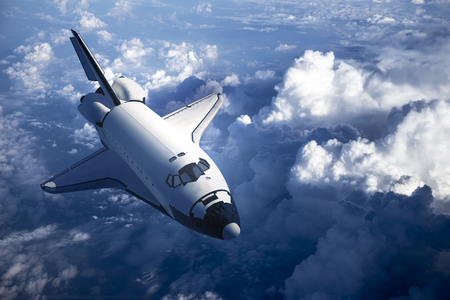 Foto de Space Shuttle Landing In The Clouds. 3D Scene. - Imagen libre de derechos