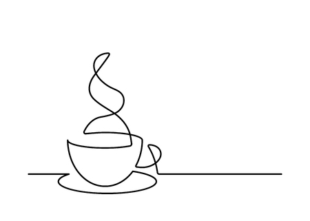 Illustration pour Continuous line drawing of coffee cup on white background. Vector illustration - image libre de droit