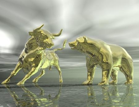 Photo pour digital visualization of bull and  bear - image libre de droit