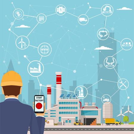 Ilustración de smart factory and around it icons Engineer starting a smart plant. Smart factory or industrial internet of things. vector illustration - Imagen libre de derechos