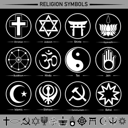 Illustration pour all religion in the signs and symbols - image libre de droit