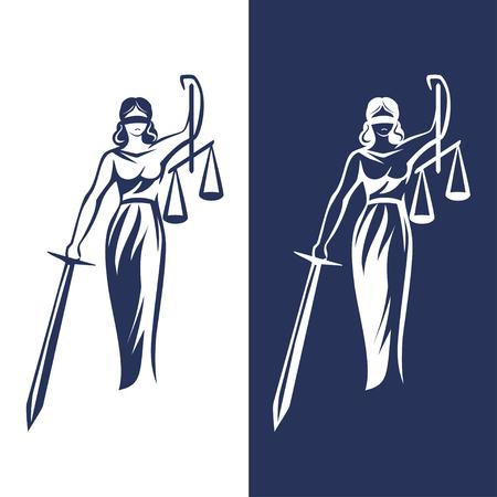Ilustración de lady justice statue on light and dark background, Vector illustration. - Imagen libre de derechos