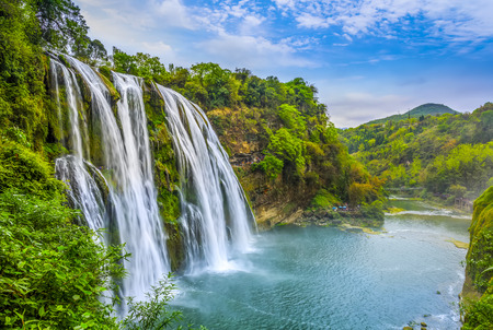 Photo pour Nature landscape scenery view of a waterfall in China - image libre de droit