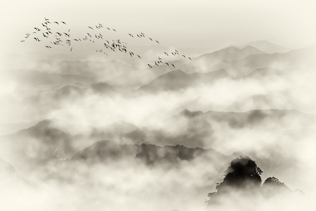 Photo pour Mount Huangshan sea stone and mountain fog - image libre de droit