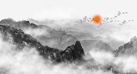 Photo pour Mount Huangshan mountain clouds and mist - image libre de droit