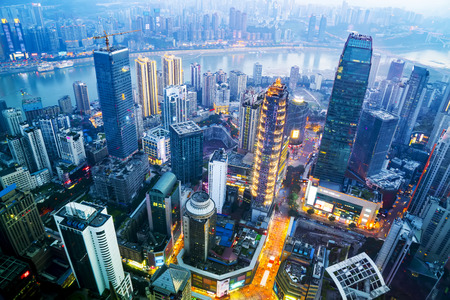 Photo pour A bird's eye view of the skyline and architectural landscape of Chongqing - image libre de droit