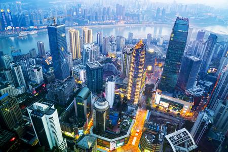 Foto de A bird's eye view of the skyline and architectural landscape of Chongqing - Imagen libre de derechos