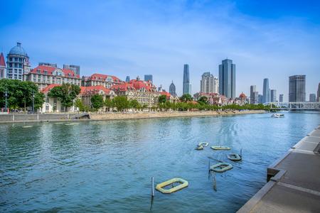 Photo pour Architectural landscape along the coast of Haihe River in Tianjin - image libre de droit