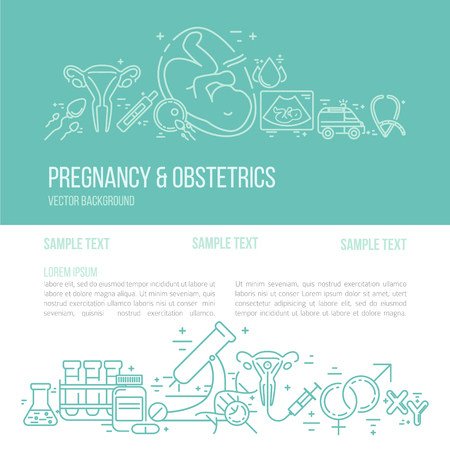 Illustration pour Banner template with research symbols including ultrasound, In vitro fertilization, gynecological chair, pregnancy test, pregnant  woman. Line style vector illustration with place for your text. - image libre de droit