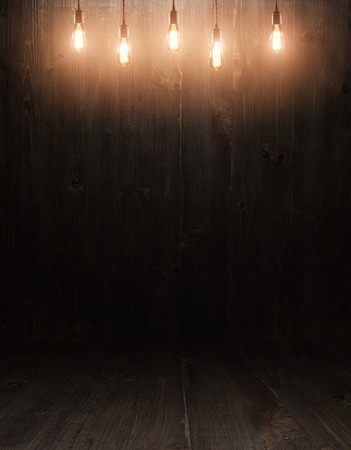 Foto de dark vintage brown wooden planks interior with  shadows - Imagen libre de derechos