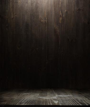 Foto de dark wooden background texture. Wood shelf grunge industrial interior - Imagen libre de derechos