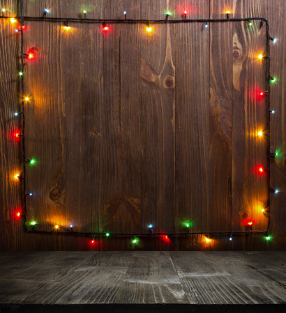Photo for Christmas background. planked wood with lights and free text space - Royalty Free Image