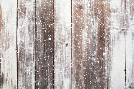 Photo for Christmas background with falling snow over wooden background - Royalty Free Image
