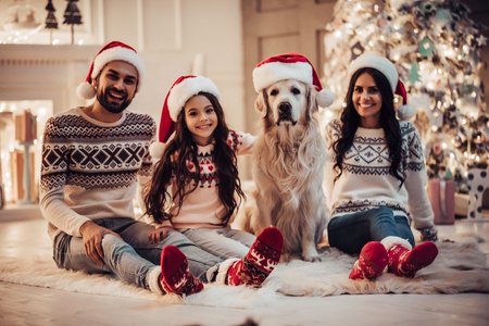 Foto de Merry Christmas and Happy New Year! Happy family with dog labrador retriever are waiting for the New Year in Santa Claus hats while sitting near beautiful Christmas tree at home. - Imagen libre de derechos