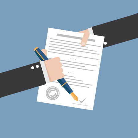 Illustration pour Vector agreement icon - flat illustration - hand signing contract on white paper - image libre de droit